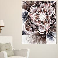 Glittering Light Blue Fractal Flower - Large Floral Canvas Art Print