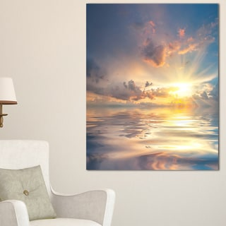 Sunset Over Sea with Reflection - Modern Landscape Wall Art Canvas