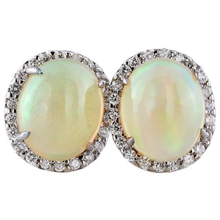 14k White Gold Handmade Opal and Diamond Earrings
