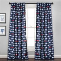 Lush Decor Race Cars Blue 84-inch Long Room Darkening Curtain Panel Pair - 52 x 84