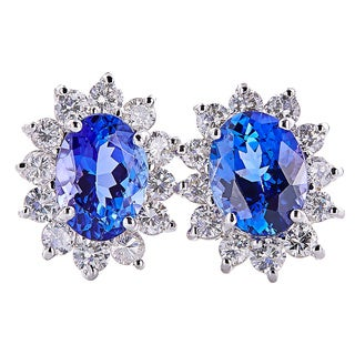 14k White Gold Handmade Tanzanite and Diamond Earrings