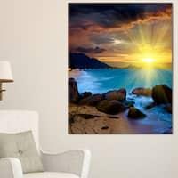 Bright Yellow Sun over Blue Waters - Modern Beach Canvas Art Print