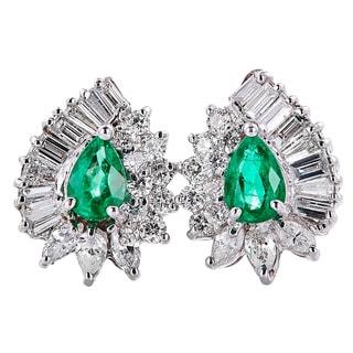 14k White Gold Handmade Emerald and Diamond Earrings