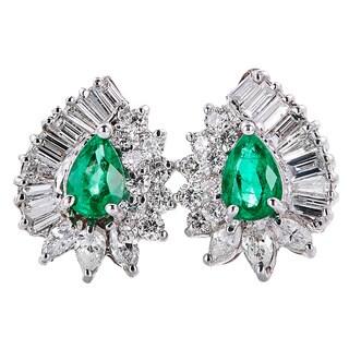 14k White Gold Handmade Emerald and Diamond Earrings - Green