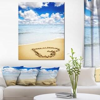 Massive Heart Drawn on Serene Beach - Seashore Canvas Wall Art