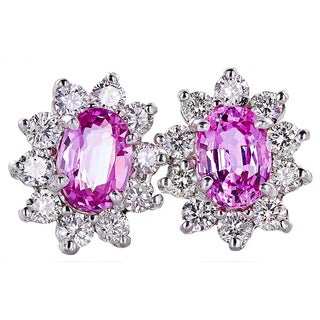 14k White Gold Handmade Pink Sapphire and Diamond Earrings