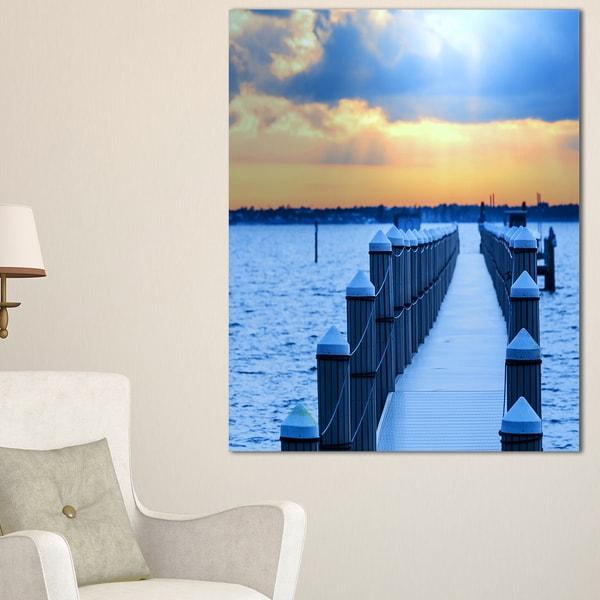 Fantastic Blue Boardwalk and Seashore - Large Sea Bridge Canvas Art Print