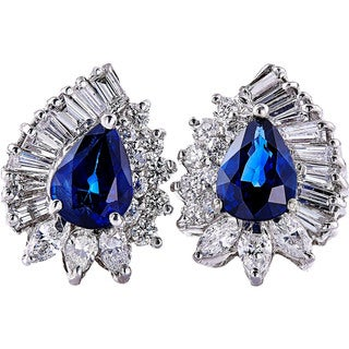 14k White Gold Handmade Sapphire and Diamond Earrings