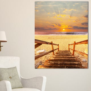 Brown Wooden Boardwalk into Beach - Large Sea Bridge Canvas Art Print