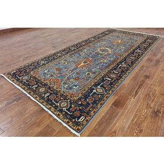 Hand-Knotted Oriental Fine Serapi Blue Wool Rug (5' 3 X 11' 10)