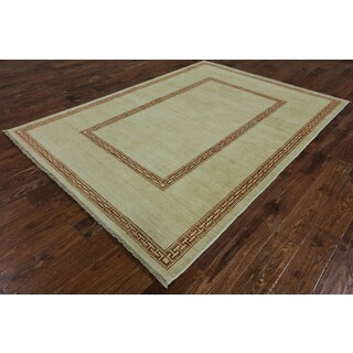 Hand-Knotted Oriental Gabbeh Ivory Wool Rug (5' 9 X 8')