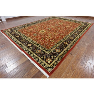 Hand-Knotted Oriental Peshawar Red Wool Rug (9' 3 X 12' 7)