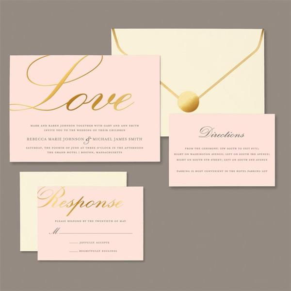 brides 30 count gold love on blush invitation kit - Brides Wedding Invitation Kits