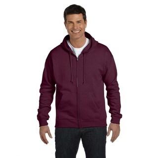 Men's Comfortblend Ecosmart 50/50 Maroon Full-Zip Hood