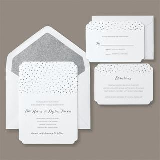 Brides 30-count Silver Glitter and Foil Dot Invitation Kit