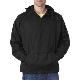 Quarter Zip Men's Hooded Pullover Pack-Away Black Jacket