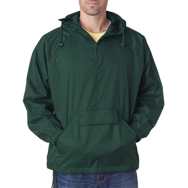 e78250505e Shop Quarter Zip Men's Forest Green Hooded Pullover Pack-Away Jacket (XL) -  On Sale - Free Shipping On Orders Over $45 - Overstock - 12418151