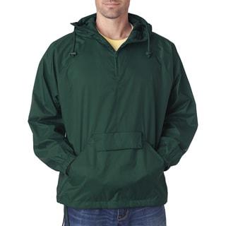 Quarter Zip Men's Forest Green Hooded Pullover Pack-Away Jacket (XL)