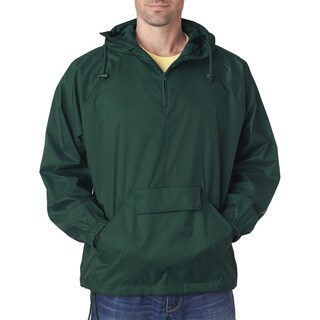 Quarter Zip Men's Forest Green Hooded Pullover Pack-Away Jacket (XL)