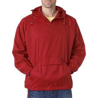 Quarter Zip Men's Red Hooded Pullover Pack-Away Jacket