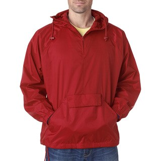 Quarter Zip Men's Red Hooded Pullover Pack-Away Jacket