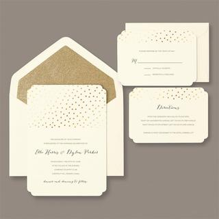 Brides Gold Glitter And Foil Dot 30 Count Invitation Kit