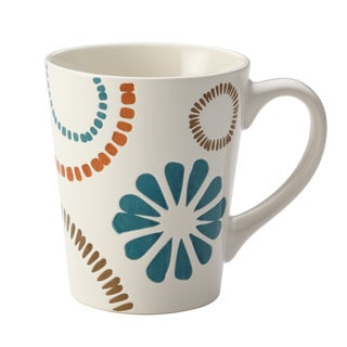 Rachael Ray Cucina Sun Daisy Dinnerware 12-Ounce Stoneware Mug, Agave Blue and Mushroom Brown