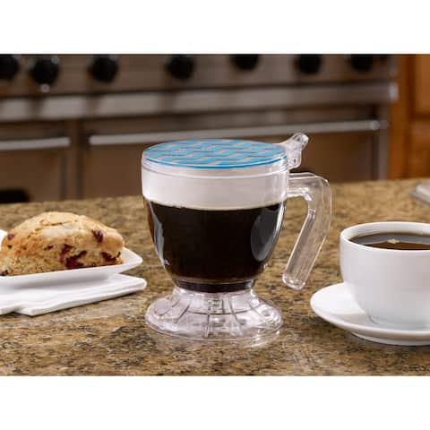 BonJour(r) Coffee and Tea BPA-Free Plastic Smart Brewer, 19-1/2-Ounce, Blue Chevron
