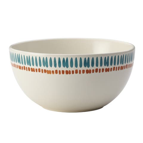 Rachael Ray Cucina Sun Daisy Dinnerware 5-1/2-Inch Stoneware Cereal Bowl, Agave Blue and Pumpkin Orange