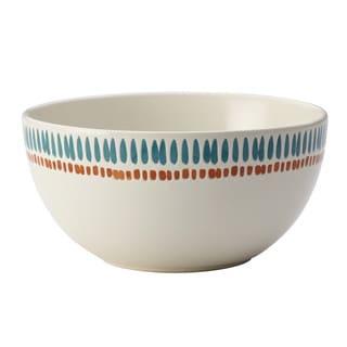 Rachael Ray Cucina Sun Daisy Dinnerware 5-1/2-Inch Stoneware Cereal Bowl, Agave Blue and Pumpkin Orange