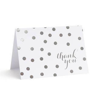 Brides Silver Foil Dots Paper Thank You Cards (40 Count)