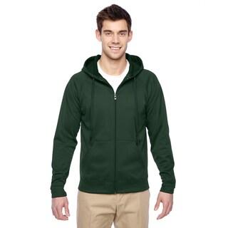 Men's Sport Tech Fleece Full-Zip Hood Forest Green Pullover Hood (XL)()