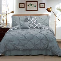 Taylor Pinch Pleat Solid To Reversible Lattice Print 7-piece Comforter Set