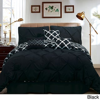 Taylor Pinch Pleat Solid To Reversible Lattice Print 7-piece Comforter Set