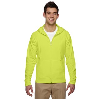 Men's Sport Tech Fleece Full-Zip Hood Safety Green Pullover Hood