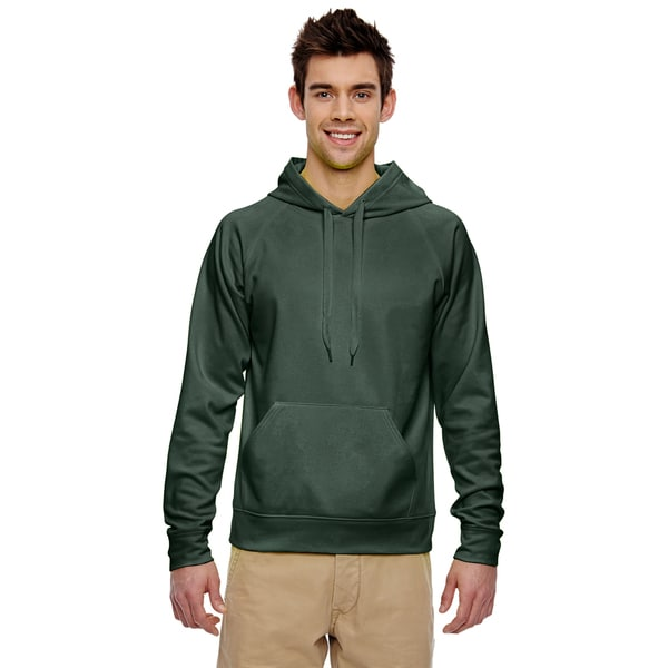 Mens Sport Tech Fleece Forest Green Pullover Hood