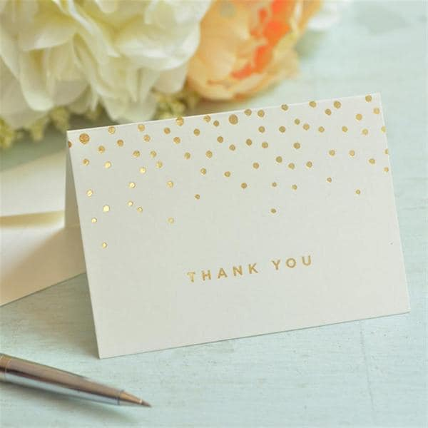 9c1ca9bf0f4e8 Gold Foil Dots Thank You Card 50 count