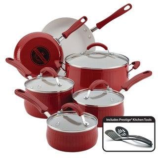 Farberware New Traditions Aluminum Nonstick 12-Piece Cookware Set, Red