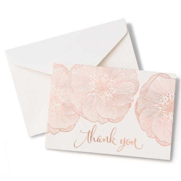 Shop Brides Rose Gold Floral Thank You Card 40 Count