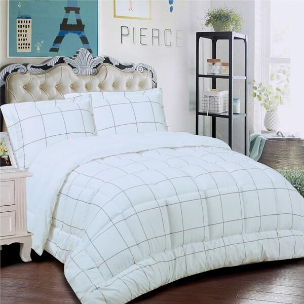 Loft Collection 3-piece Windowpane Comforter Set