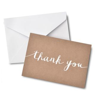 Brides White Kraft Paper 'Thank You' Card (Pack of 40)