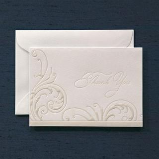Brides Pearl White Paper Thank You Card (Case of 40)