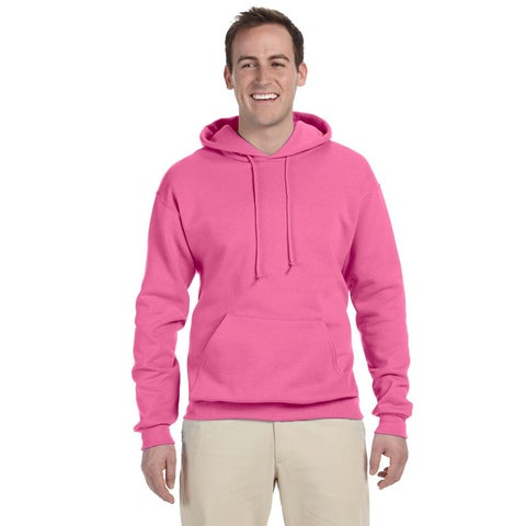 Men's 50/50 Nublend Fleece Neon Pink Pullover Hood (XL)()