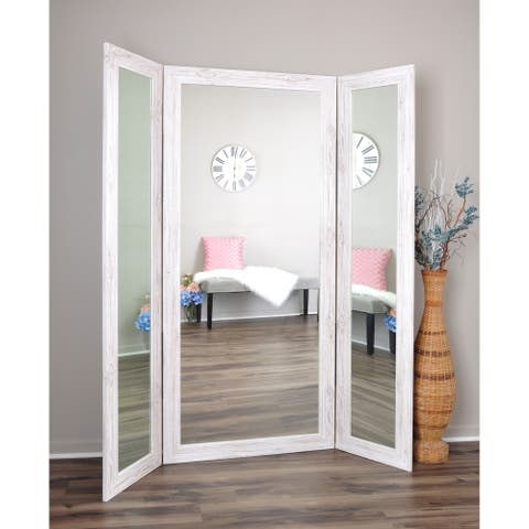 BrandtWorks White Washed Full Body Trifold Dressing Mirror - oyster cream