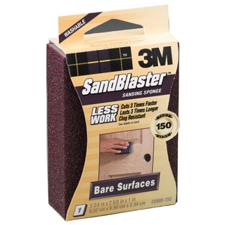 3M 20908-150 150 Grit SandBlaster Bare Surface Sanding Sponge Block
