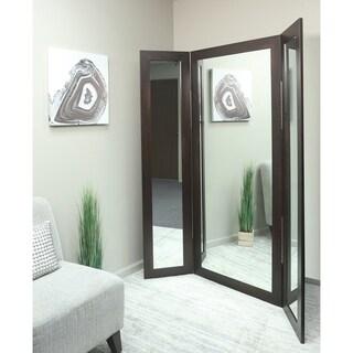 BrandtWorks Dark Walnut MDF Full-body Trifold Mirror
