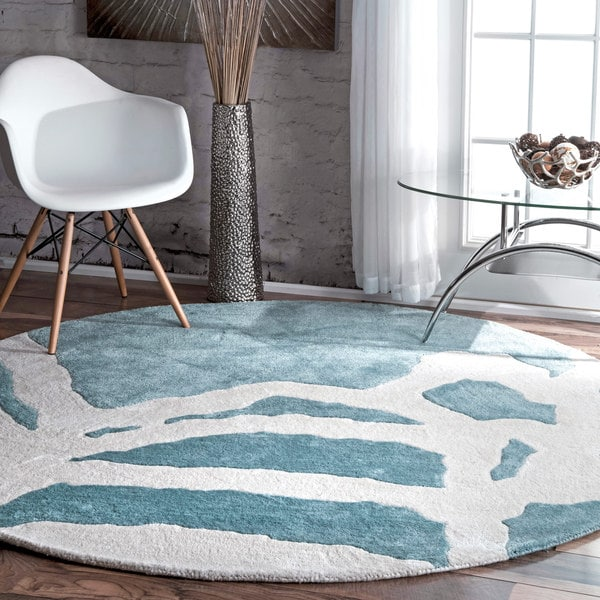 Shop NuLOOM Contemporary Abstract Aqua Green Round Rug