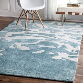 nuLOOM Contemporary Abstract Aqua Green Rug (5' x 8')