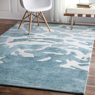 nuLOOM Contemporary Abstract Aqua Green Rug (7'6 x 9'6)