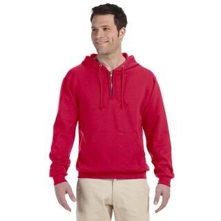 Men's 50/50 Nublend Fleece Quarter-Zip Pullover True Red Hood